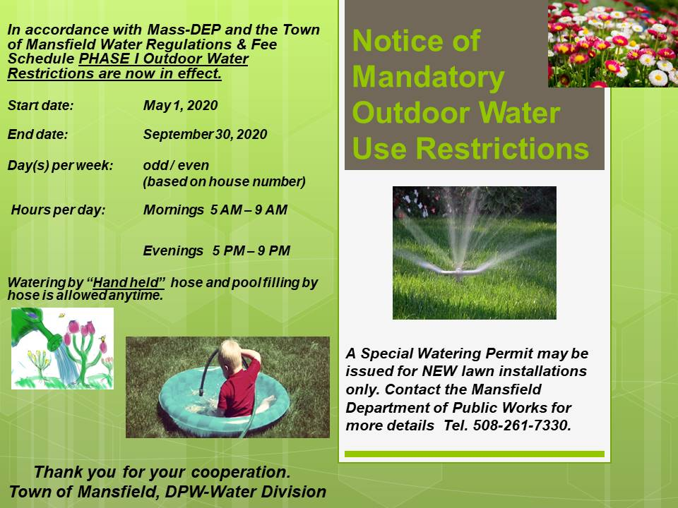 2020 WATER RESTRICTIONS EFFECTIVE MAY 1-SEPT 30, 2020