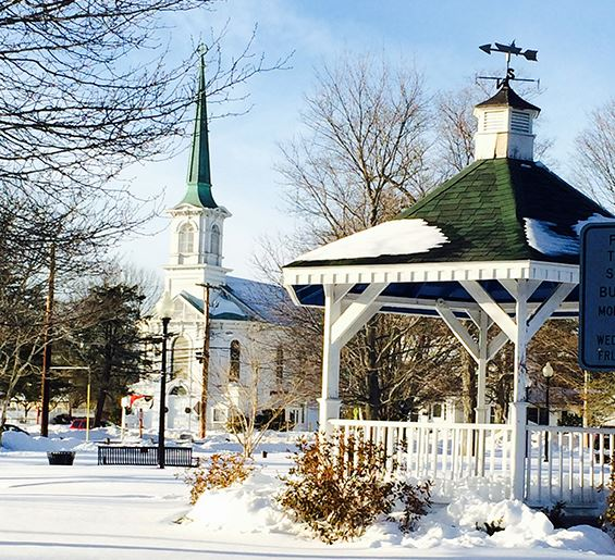 church and gazebo with snow