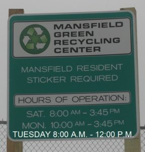 Mansfield Green Recycling Center Hours of Operation